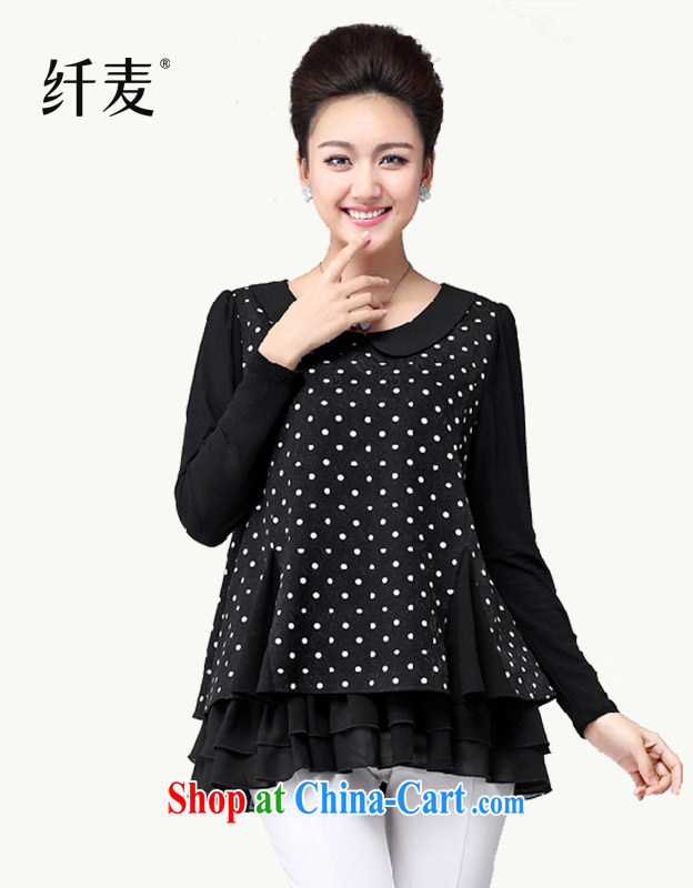 The wheat fall 2014 with larger female new thick MM fashion round collar dot T pension cultivating graphics thin 14,089 black XXXXL