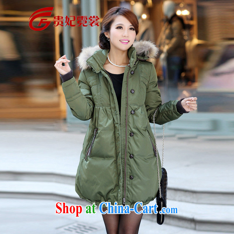 Winter clothing new king, female jacket mm thick, long, and indeed increase, thick stylish loose feather jacket genuine 109 army green 5 XL weighing about 180 jack