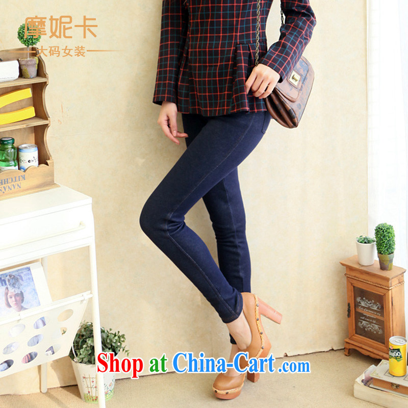 Moses Veronica 2014 spring loaded the code female thick sister graphics thin Korean version of the new, the lint-free cloth stretch the solid blue jeans pants denim blue XXXL