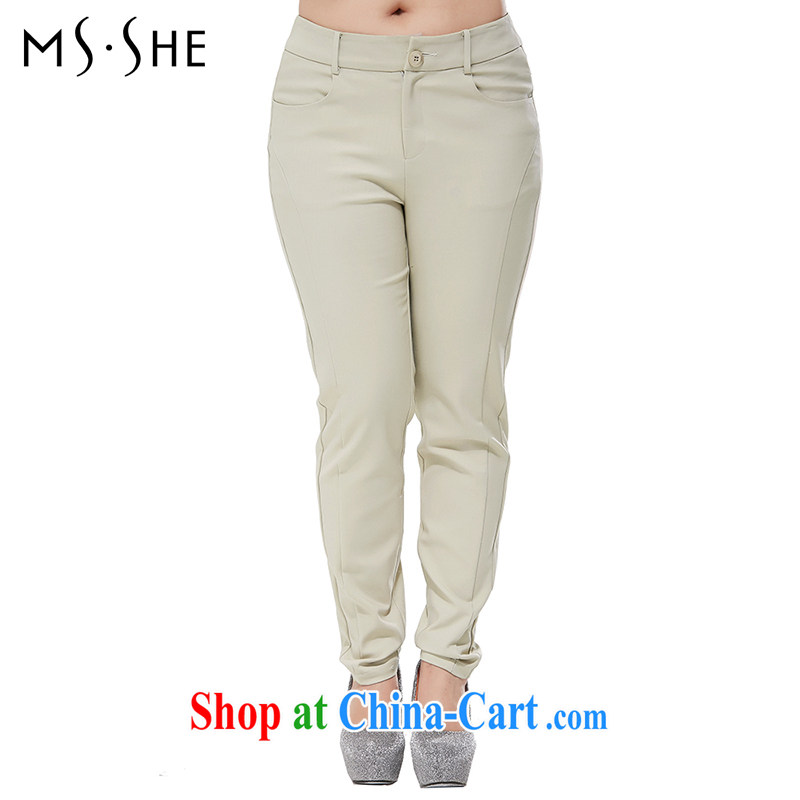 MSSHE XL female new summer candy colored beauty graphics thin trousers casual trousers castor 6483 khaki T 5
