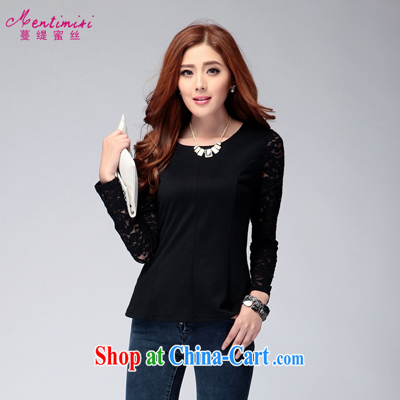 Mephidross has long honey, and indeed increase, female Autumn with new graphics thin lace round-collar long-sleeved shirt T solid shirt 6134 black XXXXL