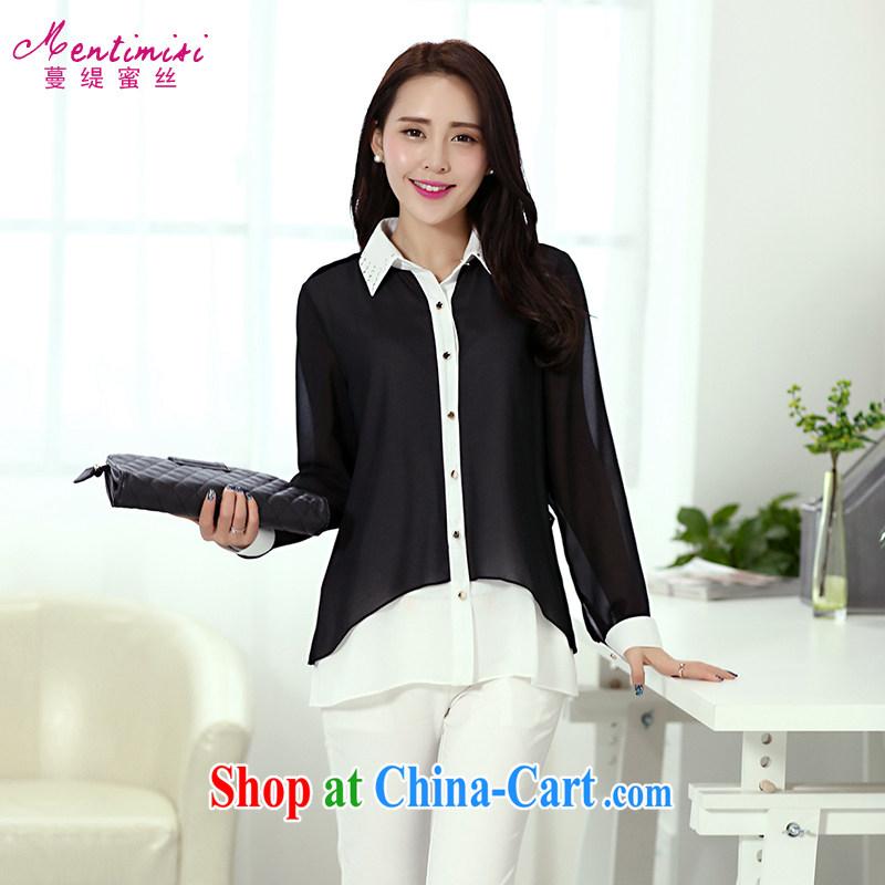 Mephidross economy honey, 2014 summer new thick sister larger female Korean roll collar long-sleeved T-shirt 6202 T-shirt black XL