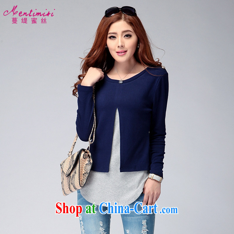 Mephidross has long honey, and indeed increase, female Autumn with new Korean version thick sister leave of two long-sleeved T shirt 6132 photo color XXXL