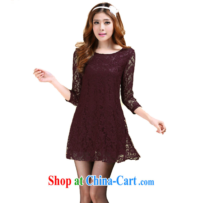 Szili Clinton's 2014 spring loaded new graphics thin dresses lace patterned solid skirt XL beauty charm and stylish 100 ground elegant dresses wine red 4 XL