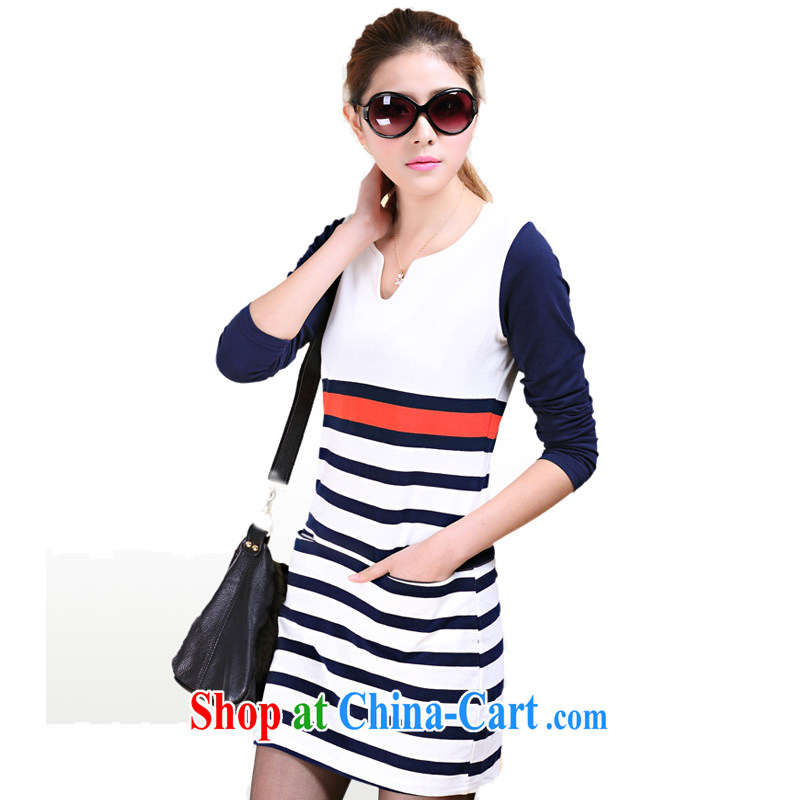 Ms. Cecilia Clinton's 2015 new spring loaded the Code women hit streak Color cotton dress thick MM graphics thin 100 ground fat girl dress apricot XL