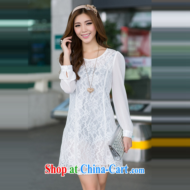 Ms. Cecilia Clinton's 2015 spring new large yards, Korean video thin lace snow woven skirt long-sleeved Lo career skirt relaxed temperament 100 solid ground skirt white 3XL