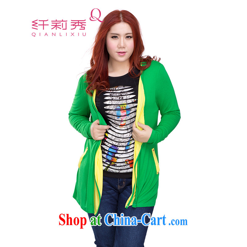 Slim Li-su spring 2014 new larger female 100 ground stitching irregular leave of two long-sleeved knit shirts Air Conditioning small jacket Q 3512 green XXL