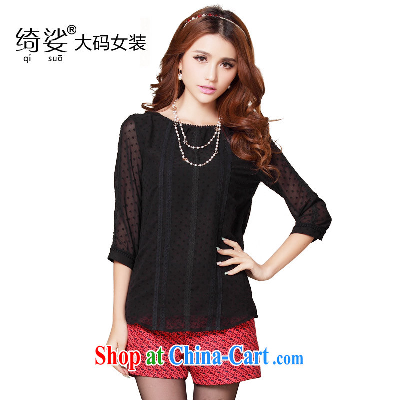 cheer for 2014 XL girls thick MM summer new lace-thick sister graphics thin large code 7 cuff T pension female Number 1973 black XL