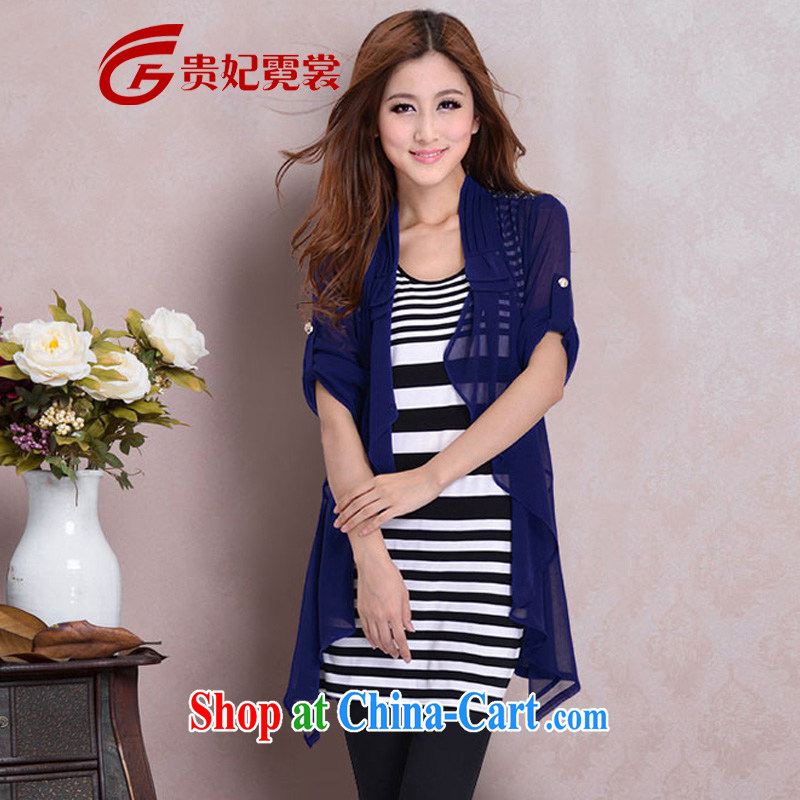2014 King Size Code women mm thick summer sunscreen new long-sleeved two-piece on long-sleeved shirts and indeed XL air-conditioning T-shirt snow woven shirts woven snow jacket 6086 blue jacket + T pension 4 XL