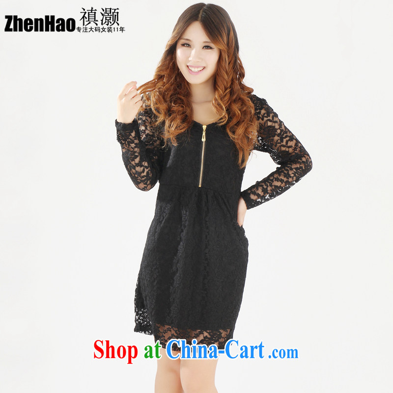 禛 collective counters are thick mm thick sister and indeed XL women 2015 spring and summer New Beauty video thin Korean lace V collar short-sleeved clothing skirt black long sleeved XL