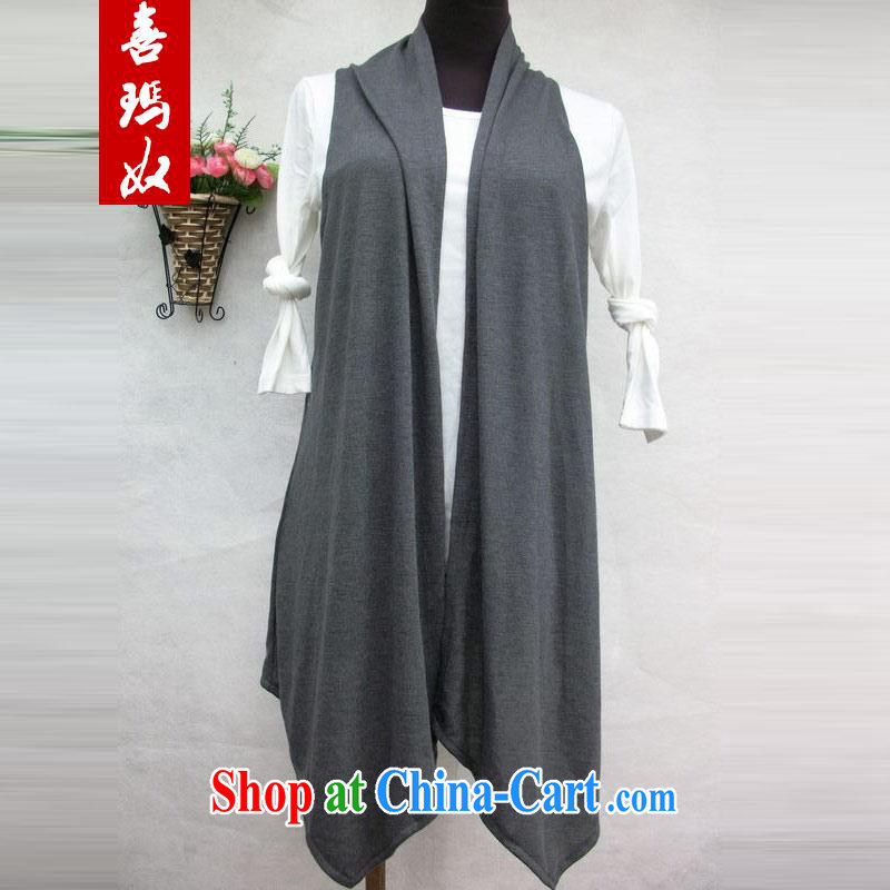 Hi Princess slave Korean thick sister larger ladies stylish graphics thin sleeveless long vest vest jacket shawl A 039 gray - Special Offers maximum code XL 140 Jack the following