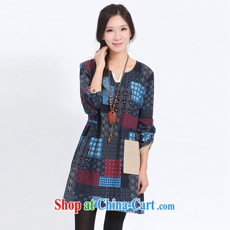 The Ju-Yee Nga spring Women's clothes on stamp duty MM loose long-sleeved checkered increase dresses YX of 11,280 red XL