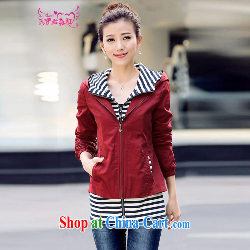 The Ju-Yee Nga spring Women's clothes Korean king code streaks spell series cap short jacket YY 890,782 maroon XXXL