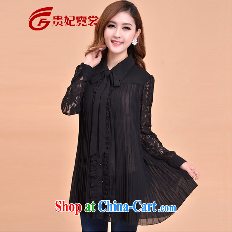 2015 King Size Code women mm thick load fall new, Korean snow woven shirts and indeed XL lapel lace long-sleeved fold hem lace lace shirt 067 black 4XL