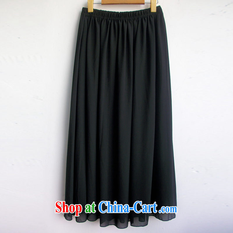 Hi Margaret slavery summer Korean fat sister and indeed XL female snow woven stylish 100 ground body skirt long skirt A 5729 black 3 XL_190 Jack left and right