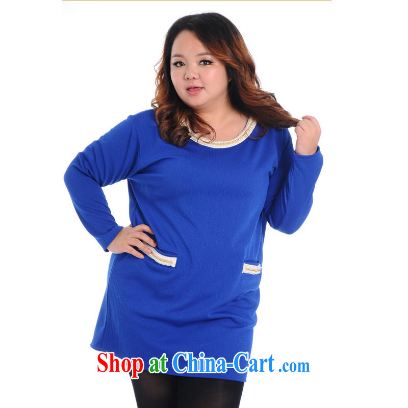 Hi Princess Won slavery and indeed increase, female elegant 100 ground round-collar long-sleeved loose dress skirt solid A 7049 blue 3 XL_200 about Jack