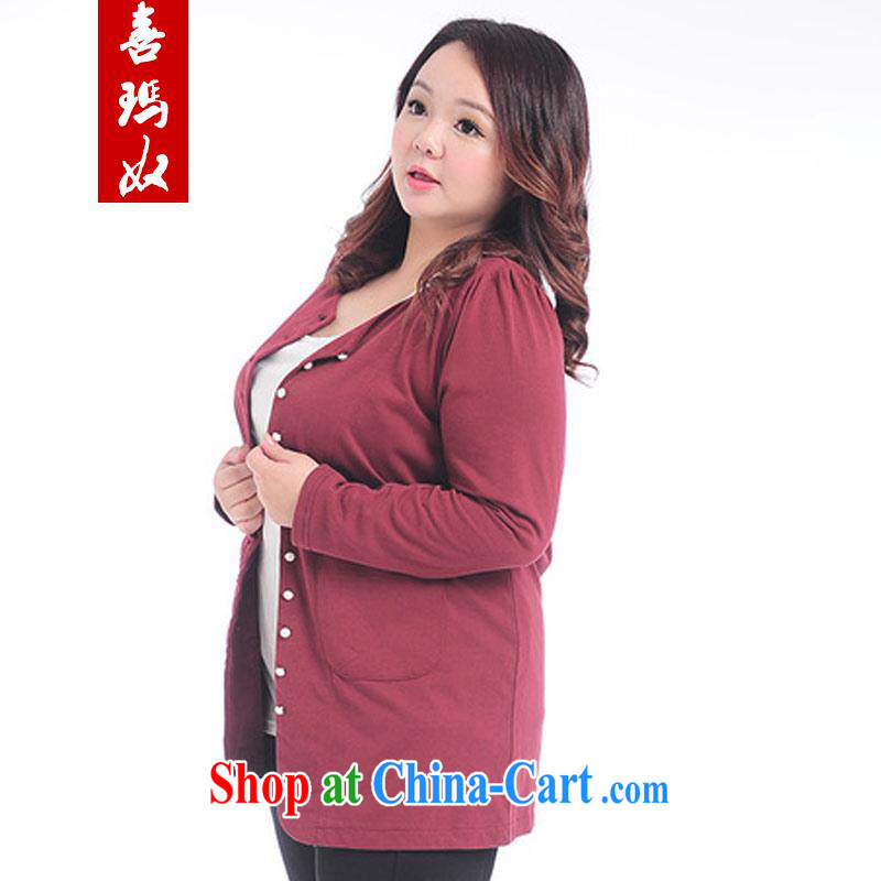 Hi Princess slave Korean large Code women thin cotton graphics thin long-sleeved cardigan jacket long air-conditioned T-shirt T-shirt A 7179 big red code 2 XL 180 Jack the following
