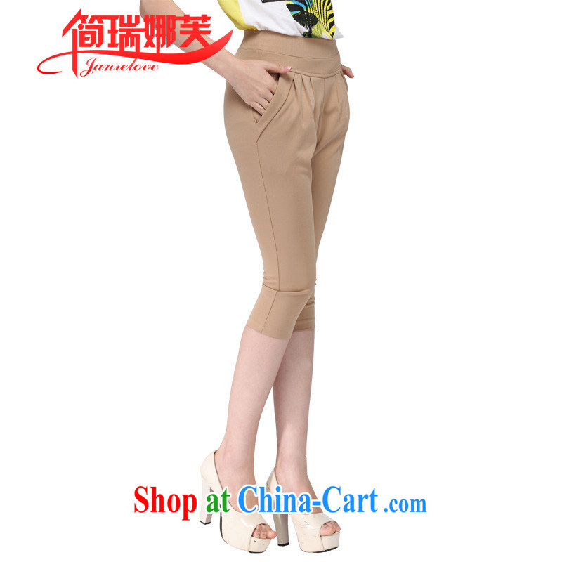 In short, will be the 2015 summer New Large Number 7, Trouser Press Korean OL aura leisure elasticated waist beauty graphics thin Harlan pants shorts khaki XXXXL