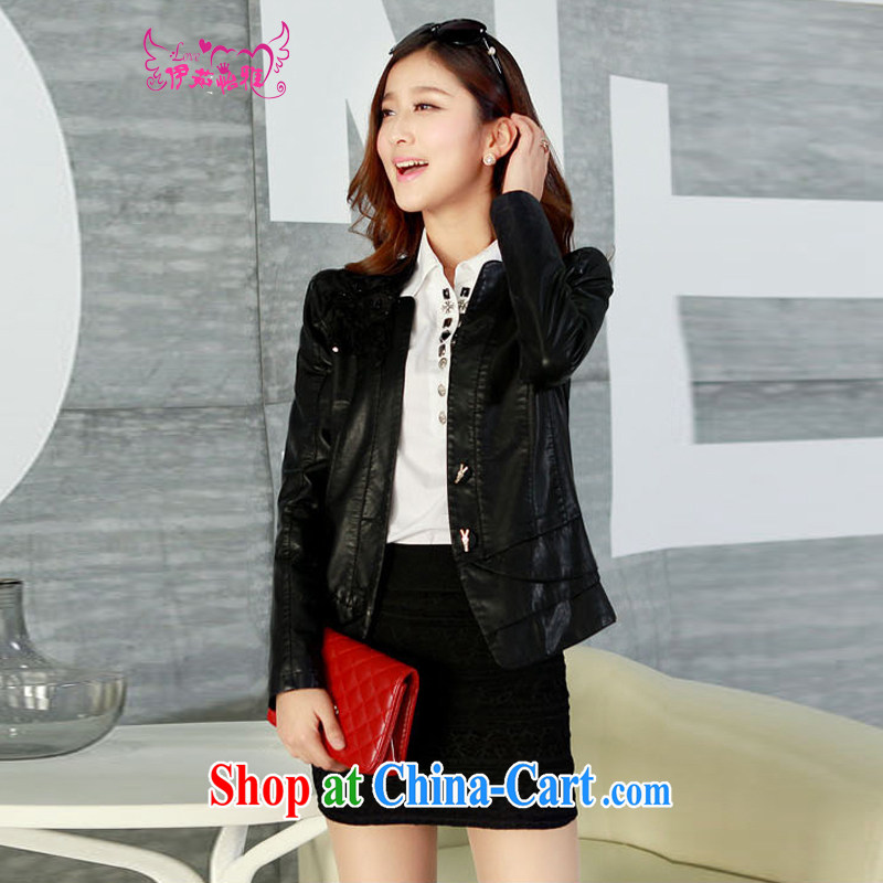 The Ju-Yee Nga thick sister graphics thin 5XL new larger female PU motorcycle leather jacket a leather jacket YD 13,188 black XXXXXL