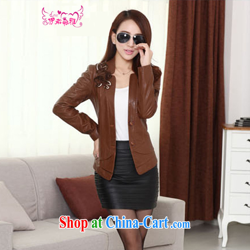 The Ju-Yee Nga thick sister graphics thin 5XL new, larger female PU motorcycle leather jacket a leather jacket YD 13,188 black XXXXXL, Yu Yee Nga, shopping on the Internet
