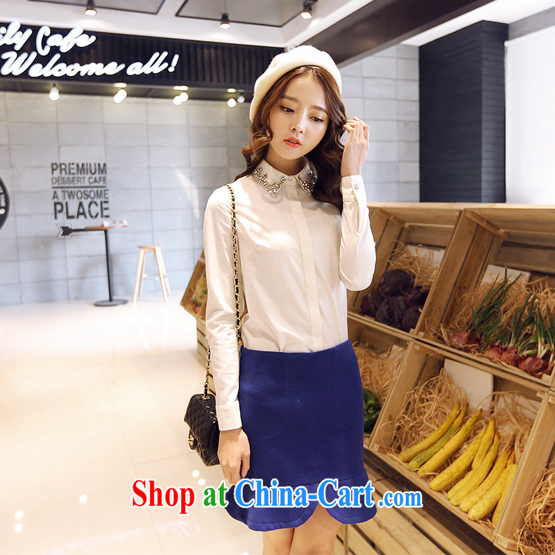 Moses Veronica mm thick spring 2015 the code female new Korean video thin the seamless drill collar long-sleeved commuter shirt female white XXXXL