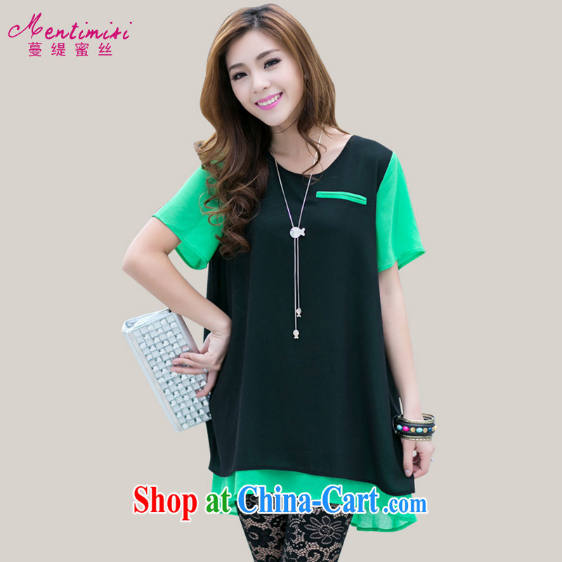 Mephidross economy honey, and indeed increase, female fat sister summer new Korean tile collision color graphics thin short-sleeved snow woven shirts 6023 green XXL