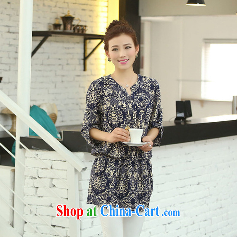 The Ju-Yee Nga 200 Jack thick sister Korean version the code female loose suit 4 XL shirt 70,163 blue blue and white porcelain 7 cuff XXXL