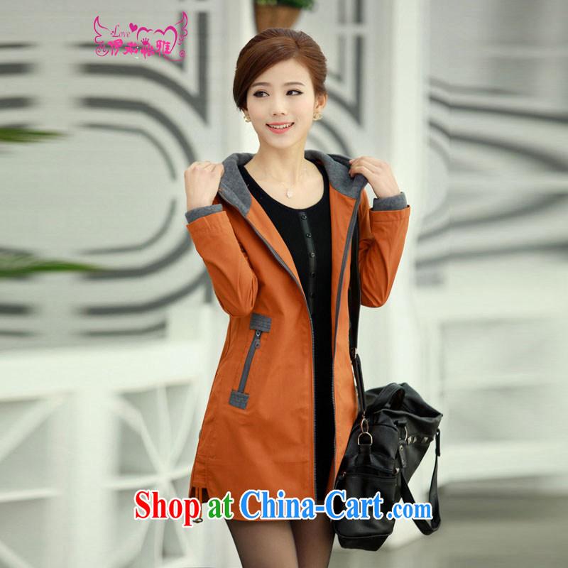 The Ju-Yee Nga spring new female Korean Beauty large code in long, thick mm jacket windbreaker 8286 orange XXXXL