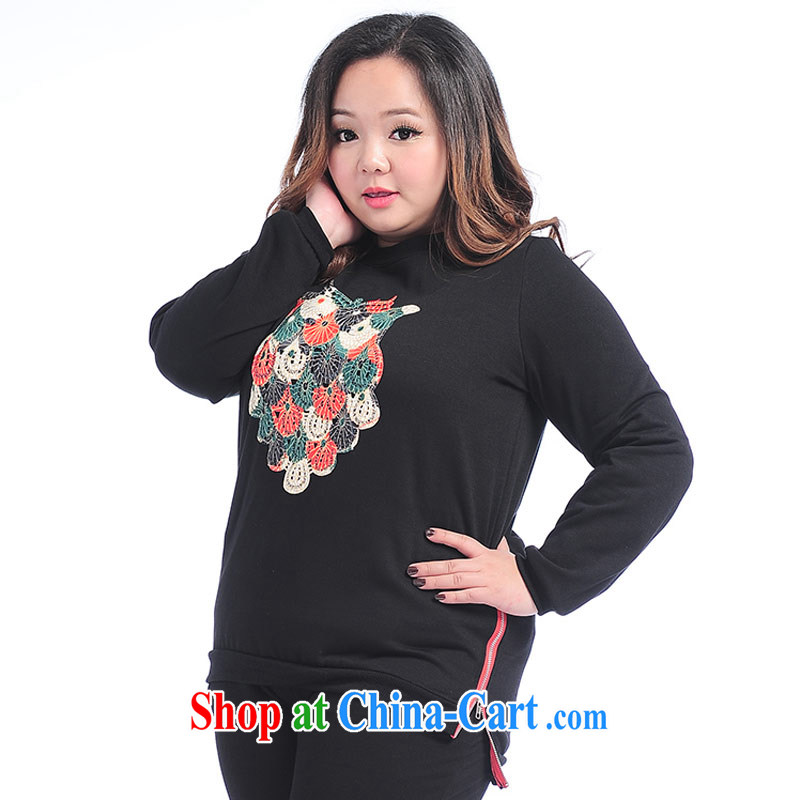 Thin _NOS_ larger female casual sweater not stamp duty rules T pattern shirt T-shirt long-sleeved T-shirt solid A 7191 black 3 XL_plain 9 XL