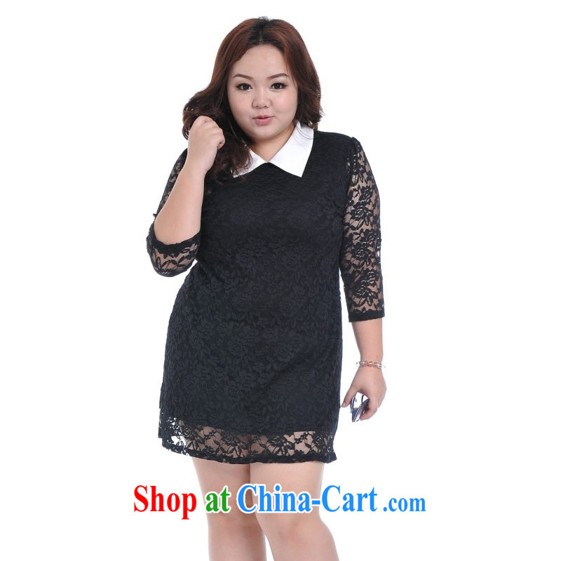 Thin _NOS_ summer maximum code female Lace Embroidery professional shirt collar graphics thin dress skirt solid A 5581 black XL_3 XL