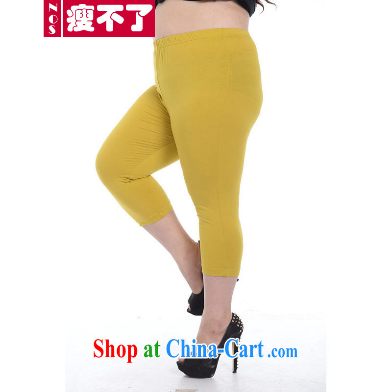 Thin _NOS_ summer new, larger female Stretch video thin 7 solid pants candy colored warm trousers boots trousers A 5691 yellow large code 3 XL 180 - 210 jack