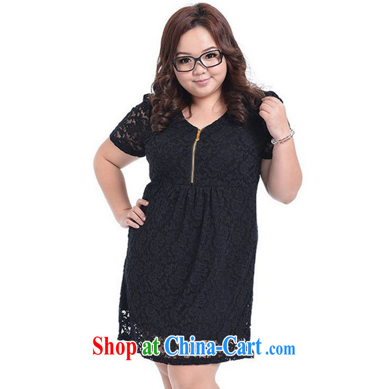 Mr Ronald ARCULLI NOS New, and indeed increase, female fashion graphics thin breathable lace long-sleeved short-sleeved Korean dress skirt solid A 6011 Black_short-sleeved 4 XL_chest of 120 - 128 CM