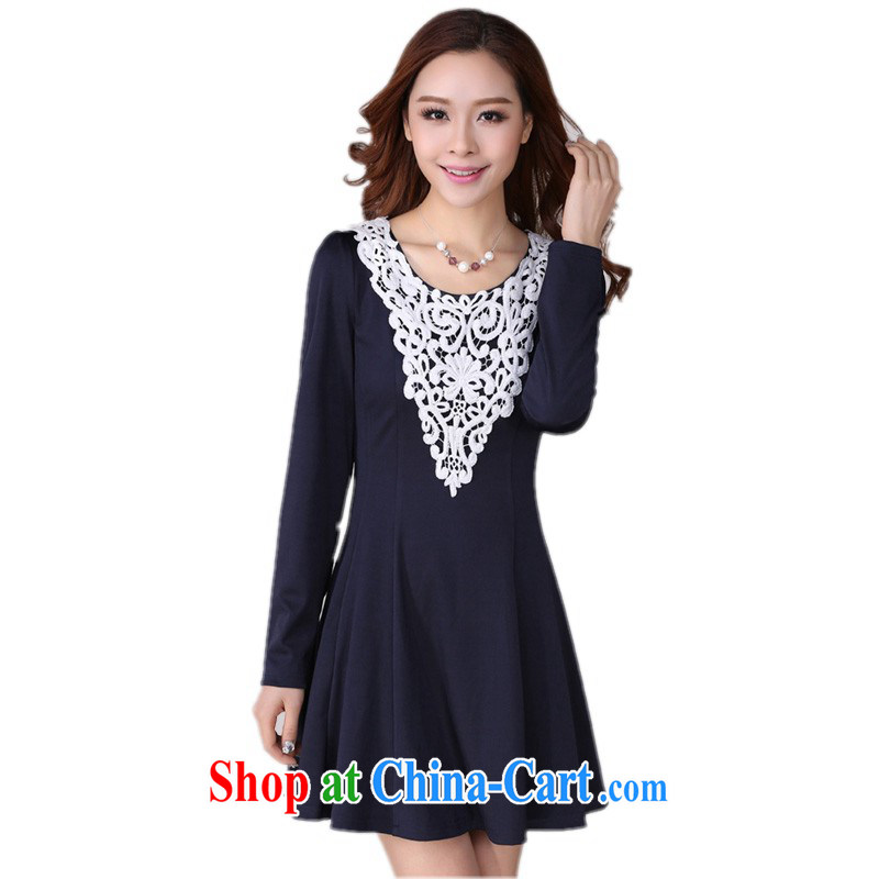 The delivery package as soon as possible by the hypertrophy, ladies dress autumn 2014 the Korean lady knitting hook take round-collar long-sleeved solid skirt OL graphics thin Mrs Po blue 2 XL 135 - 145 jack