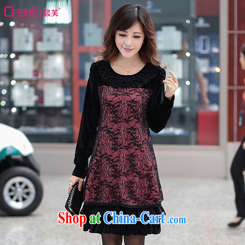 Morning would be 2015 spring new Korea and indeed XL thick MM elegant sexy graphics thin lace Openwork hook take flouncing a thick skirt, solid skirt red-orange large code L recommendations 110 - 125 jack