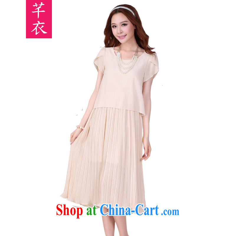 Constitution and clothing increased, female long skirt 2015 summer new Snow woven long skirt short-sleeved high 100 hem graphics thin Beach Resort skirt skirts thick mm dresses apricot large XL 125 - 140 jack