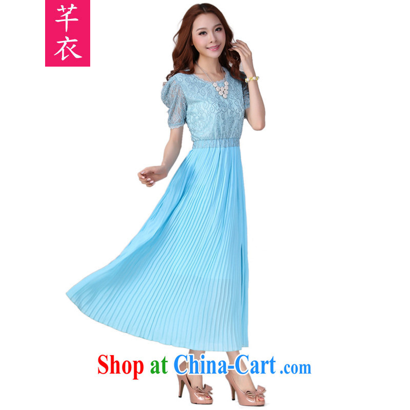 Constitution Yi XL women dress mm thick 2015 summer new Bohemia, Lady snow woven long skirt lace short sleeves and indeed graphics thin dress light blue 4 XL 165 - 180 jack