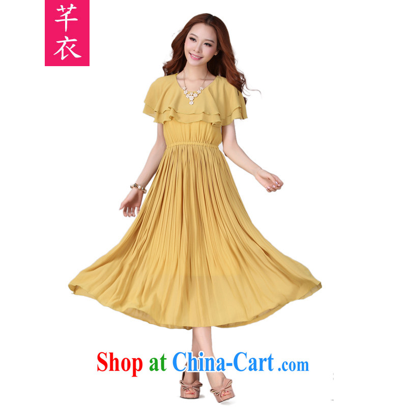 Constitution Yi XL women dresses 2015 new bohemian chic snow woven long skirt short-sleeved bare shoulders large leisure skirt mm thick dresses yellow 3XL 145 - 160 jack