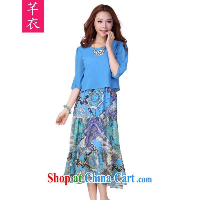 Constitution Yi XL women mm thick the fat stamp beach dresses 2015 new summer bohemian floral leisure in snow cuff woven long skirt royal blue 3 XL 140 - 150 jack