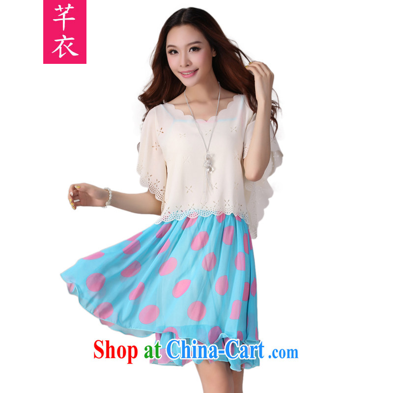Constitution and the female Two-piece 2015 spring new stylish two-piece shawl short-sleeved dot snow woven dresses straps skirt the code OL short skirt blue 3 XL 145 - 160 jack