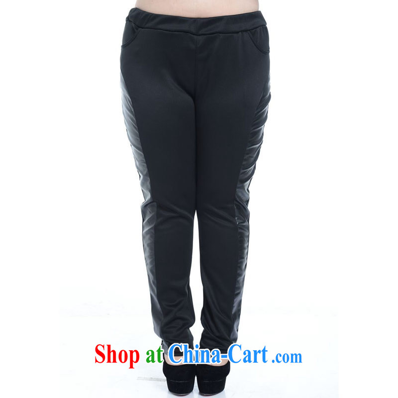 Thin _NOS_ Extra Large code female PU leather stitching pants beauty graphics thin stretch Elastic waist long leather pants A 5171 Black Large Number 2 XL_model through