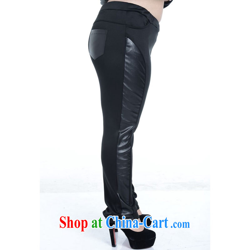 Thin (NOS), a large, female PU leather stitching pants beauty graphics thin stretch Elastic waist long leather pants A 5171 Black Large Number 2 XL/model wearing thin (NOS), online shopping