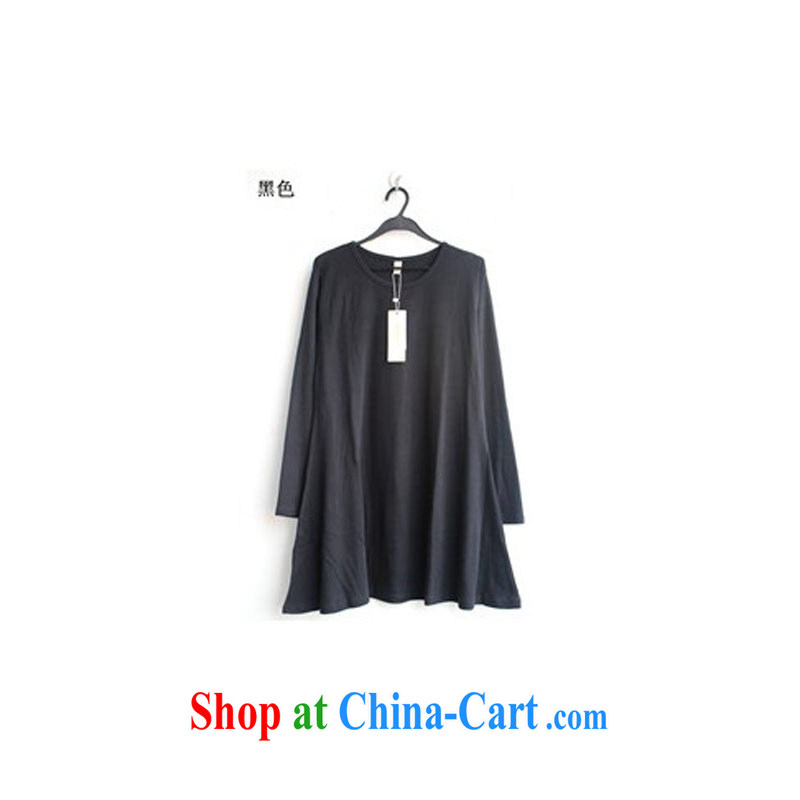 Thin _NOS_ Code women flouncing large skirts beauty graphics thin stretch solid skirt A 5191 black 3 XL_chest of 110 - 125 CM