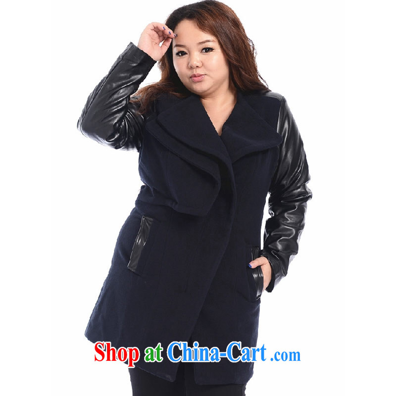 Thin _NOS_, a large, female PU spell leather thick coat OL suits for warm hair coat? windbreaker A 5371 Black Large Number 3 XL_chest of 126 CM