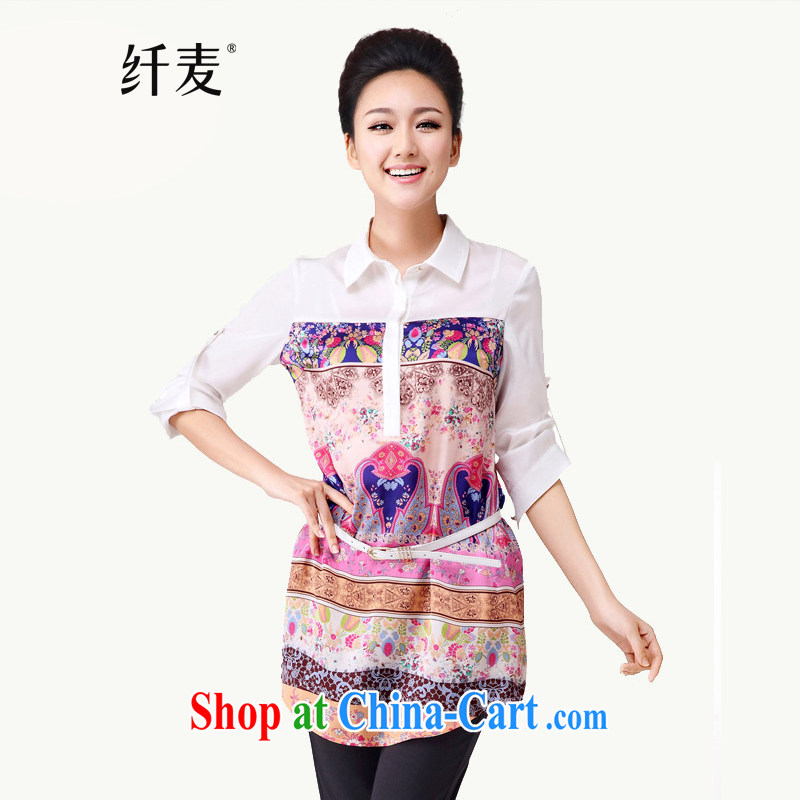The Mak is the female 2014 summer new, thick MM stylish 100 Ground Plane Collision national floral long-sleeved T-shirt 4723 XXXXXL suit, former Yugoslavia, Mak, and shopping on the Internet