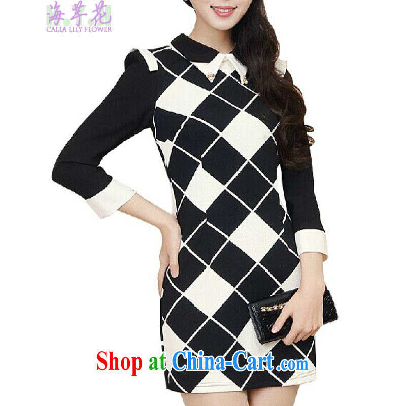 The line takes the Code women's clothing spring and new Korean video thin thick mm grid stamp small lapel dress, solid through 2 - 3 X black-and-white, 3 XL