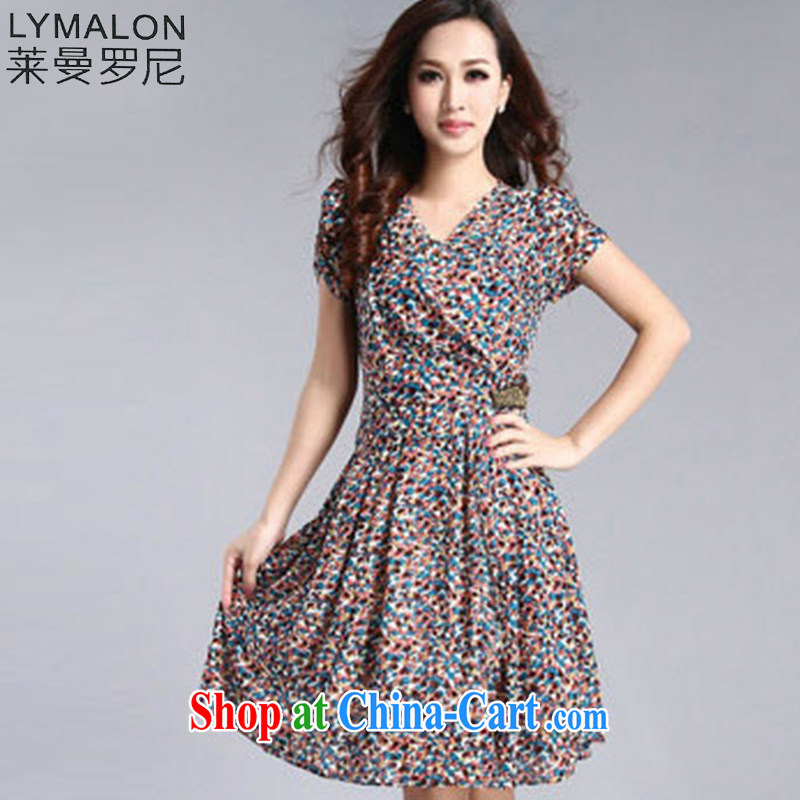 Lehman Ronnie lymalon fat people graphics thin summer 2015 new Korean version the code female V collar floral beauty short-sleeved dresses 6802 Orchid 3 XL