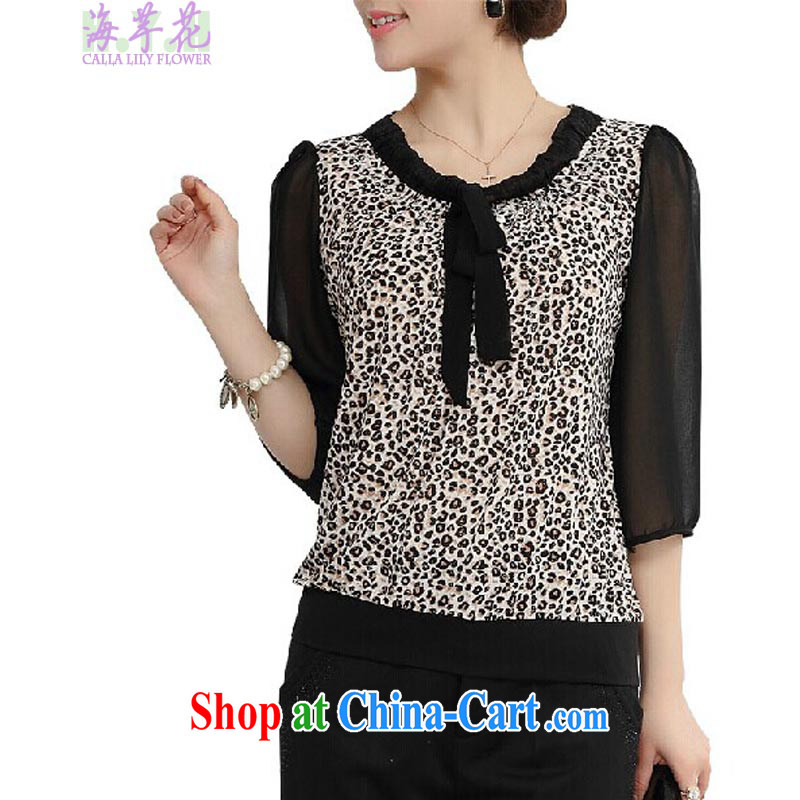 The line spend a lot, women summer new Korean video thin thick mm flouncing stitching Leopard stamp loose shirt 86 S 05 black-and-white Leopard 5 XL