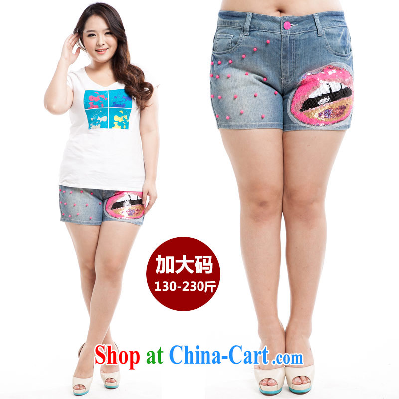 Thin _NOS_ new summer products, female custom 100 ground graphics thin jeans hot pants M 86,181 light blue + lips 42 code