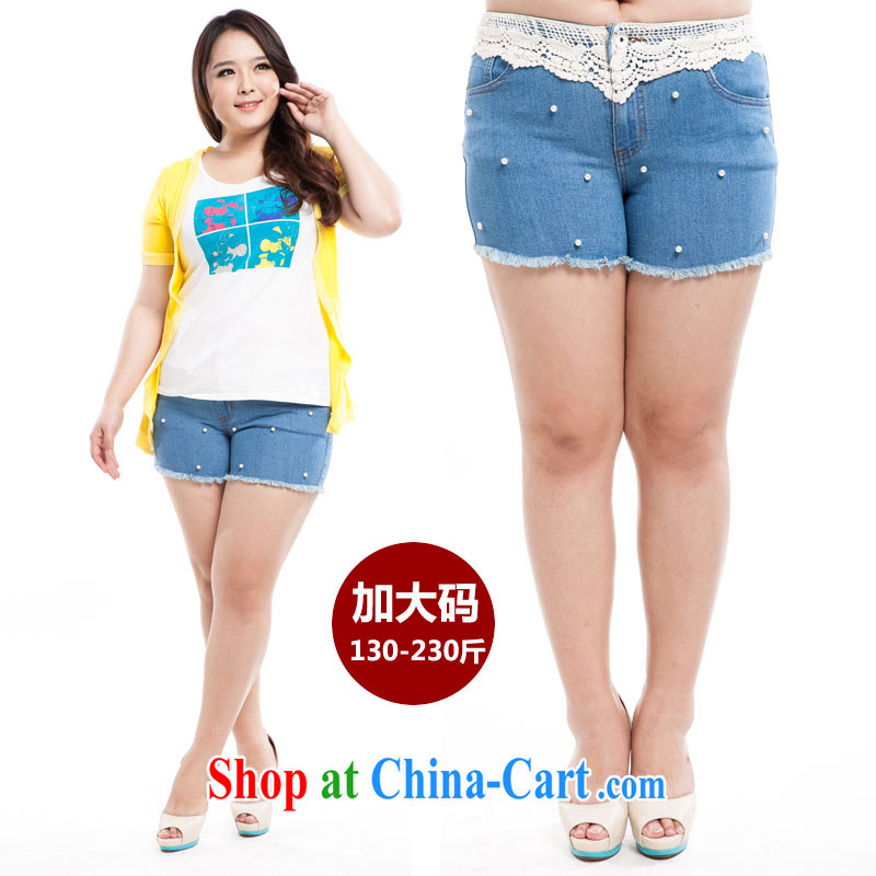 Thin _NOS_ new summer products, female lace lace 100 cultivating ground pants hot pants M 91,301 light blue 42_waist 120 cm - 3 feet