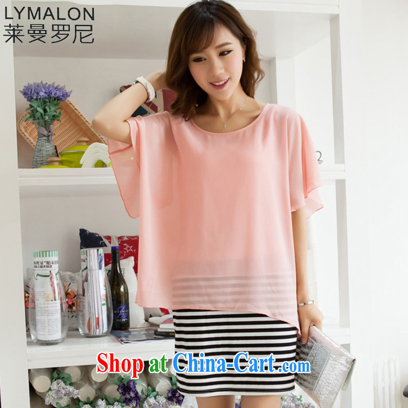 Lehman Ronnie lymalon delivery expertise, Video thin summer 2015 new products, female short-sleeve leave two snow-woven dresses 1064 pink L